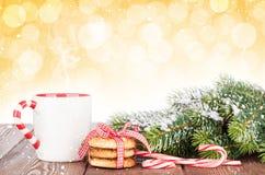 Ветвь рождественской елки, печенья и обдумыванное вино Стоковое Изображение