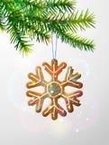 Ветвь рождественской елки с декоративным печеньем иллюстрация вектора