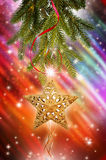 Ветвь рождественской елки с звездой Стоковые Изображения