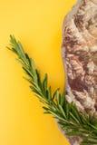 Ветвь свежего розмаринового масла и естественного камня моря на ярком yel Стоковая Фотография