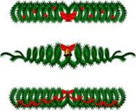 Ветвь сосны изолированная на белизне с лентами Стоковое Изображение RF