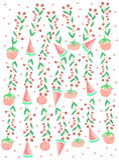 Ветв-томат-арбузы ягоды с точка-акварелью польки Стоковое Изображение