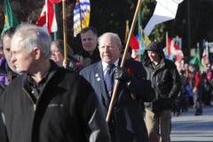 Ветеран в параде день памяти погибших в первую и вторую мировые войны Стоковая Фотография