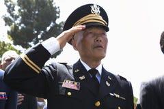 Ветеран салютуя на событии национального кладбища Лос-Анджелеса ежегодном мемориальном, 26-ое мая 2014, Калифорнии, США Стоковое фото RF