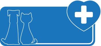 Ветеринарная карточка посещения с собакой, котом и сердцем Стоковые Фотографии RF