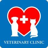 Ветеринарный значок клиники с красным сердцем иллюстрация штока
