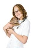 Ветеринар с собакой sharpei щенка. Стоковая Фотография