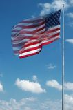 ветер американского флага большой развевая Стоковая Фотография