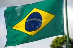 Ветер Бразилии флагов на верхней части Стоковое Изображение