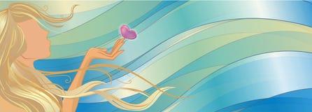 ветер девушки бабочки Стоковая Фотография