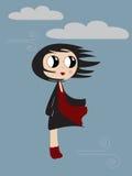ветер девушки осени Стоковое Изображение
