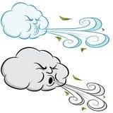 Ветер и листья облака ветреного дня дуя иллюстрация вектора