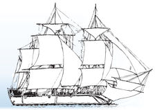 ветер корабля sailing Стоковое Изображение