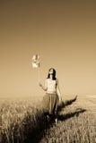 ветер пшеницы турбины девушки поля Стоковое Изображение