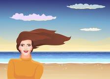 Ветер стиля причёсок девушки Иллюстрация штока