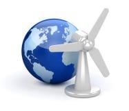 ветер турбины глобуса Стоковые Изображения RF