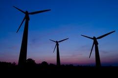 ветер турбин захода солнца Стоковое Фото