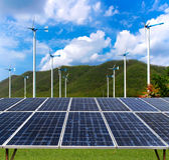 ветер турбин панели солнечный стоковая фотография