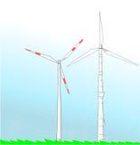 ветер турбин поля простый иллюстрация вектора