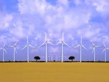 ветер турбин поля энергии Стоковое Изображение