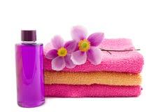 2 ветреницы на розовых и оранжевых полотенцах Стоковая Фотография
