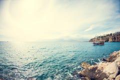 Ветрила корабля на море Стоковое Изображение
