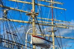 ветрила sailing рангоута детали крупного плана грузят высокорослое Стоковое Изображение