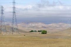 Ветровая электростанция в холме Ливермора золотом в Калифорнии стоковая фотография