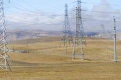 Ветровая электростанция в холме Ливермора золотом в Калифорнии Стоковое фото RF