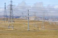 Ветровая электростанция в холме Ливермора золотом в Калифорнии стоковые изображения rf