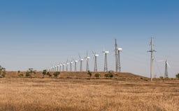Ветровая электростанция степи, зеленые технологии стоковые изображения