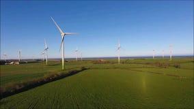 Ветровая электростанция Ballywater Wexford Ирландия сток-видео