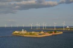 Ветровая электростанция и цитадель, Копенгаген, Дания Стоковые Изображения RF