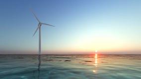 Ветрогенератор на заходе солнца на море акции видеоматериалы