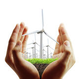 Ветротурбина в руке Стоковое Изображение RF