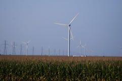 Ветротурбины вдоль шоссе в midwest Стоковая Фотография RF