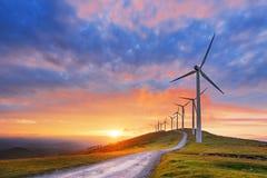 Ветротурбины в парке Oiz eolic Стоковое фото RF