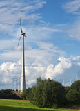 Ветротурбины в сельском ландшафте против голубого неба с whi Стоковое Фото