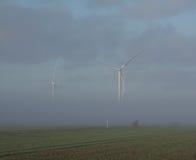 Ветротурбины в тумане Стоковая Фотография RF