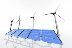 Ветротурбины и панели солнечных батарей Стоковые Изображения