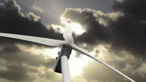 Ветротурбины на заходе солнца сток-видео