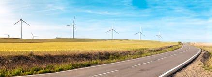 Ветротурбины на поле лета, зеленой энергии. Стоковое фото RF