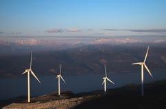 Ветротурбины под голубым небом, большим взглядом Стоковое Изображение RF