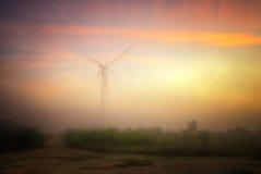 Ветротурбины приближают к накидке Kaliakra, Болгарии Стоковая Фотография