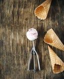Ветроуловитель мороженого поленики ванильный в ложке с конусами waffles стоковое изображение rf