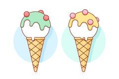 Ветроуловитель мороженого значка белый в пастельном цвете конусов различном Стоковая Фотография