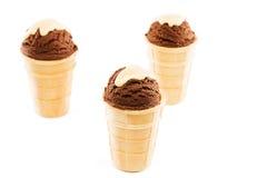 3 ветроуловителя мороженого шоколада в waffles на белизне Стоковая Фотография