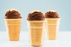 3 ветроуловителя мороженого шоколада с соусом ванили Стоковые Фотографии RF
