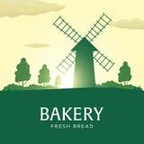 ветрянка ландшафта сельская Восход солнца bakersfield хлеб свежий также вектор иллюстрации притяжки corel иллюстрация штока