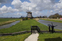Ветрянка в земле Schermer Голландии Leegwater Стоковые Фотографии RF